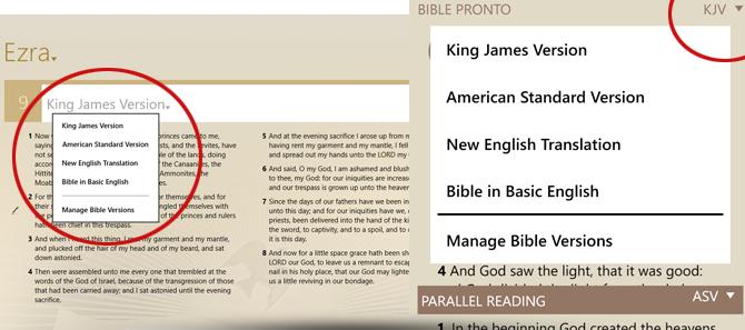 Bible Pronto - Quick Version Change