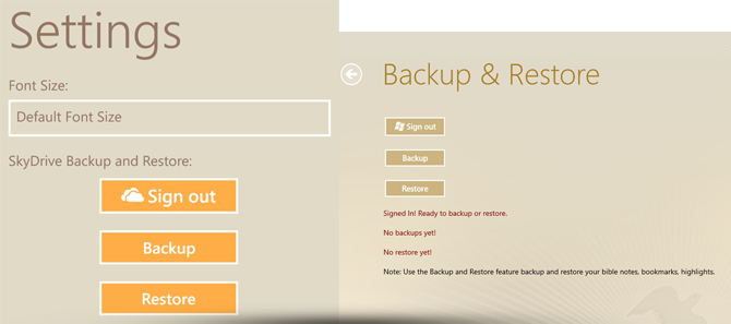 Bible Pronto - Settings, Backup and Restore